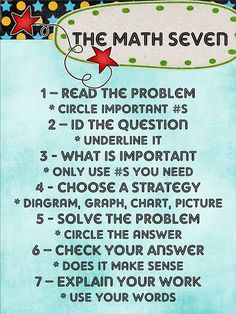 This is a MUST list for anyone doing math problems - especially word problems. If you have a child in school - help them memorize this approach. Math School, High School Classroom, Math Classroom, Classroom Ideas, Classroom Posters, Classroom Websites, Classroom Walls, School Posters, Math Strategies