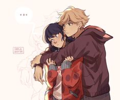 Marinette and Adrien in their Ladybug and Cat Noir jackets from Miraculous Ladybug and Cat Noir Lady Bug, Anime Miraculous Ladybug, Miraculous Ladybug Fanfiction, Adrien X Marinette, Ladybug Und Cat Noir, Cat Noir And Ladybug Comics, Film Manga, Meraculous Ladybug, Ladybug Cakes