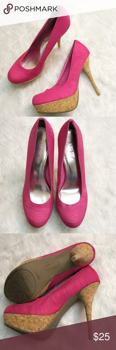 """BAMBOO hot pink cork heels size 10 Excellent used condition Bamboo cork heels with hot pink fabric upper. Size 20. 5"""" heel. BAMBOO Shoes Heels"""