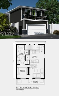 Would like a deeper garage and larger balcony. Would like a deeper garage and larger balcony. Carriage House Plans, Small House Plans, House Floor Plans, 1 Bedroom House Plans, Garage Bedroom, Garage Apartment Plans, Garage Apartments, Garage Apartment Interior, Garage Studio Apartment