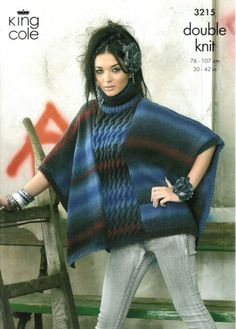 4682 King Cole Knitting Pattern Sweater /& Edge to Edge Jacket Riot DK