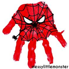 Messy Little Monster: Spiderman Superhero Handprint Craft Handprint art that is easy for kids, fingers, toes, hands and more! Get messy - Superhero Crafts Toddler Crafts, Preschool Crafts, Spiderman Craft, Spiderman Hand, Batman Crafts, Crafts To Do, Crafts For Kids, Footprint Crafts, Handprint Art