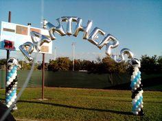 Balloon columns and balloon name arch for football team