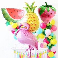 Cheap balloon balloon, Buy Quality balloons birthday directly from China balloon birthday party Suppliers: 24Pcs Flamingo Foil Balloons Hawaiian Tropical Luau Party Supplies Jumbo Super Shape Fruit Summer Party Birthday Balloon