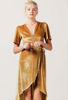 Velvet Midi Wrap Dress #yellow