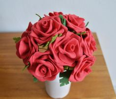Heirloom Felt Flower Bouquet One Dozen Red by ThistleandCrown