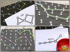 Constellations Geoboard DIY - great way to learn about constellations. Stock up on those thumbtacks :)