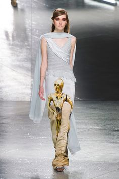C-3PO from #StarWars on a gown from Rodarte's Fall 2014 collection.