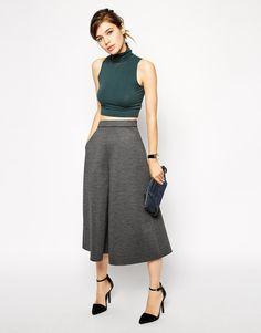 Image 1 -ASOS Premium Bonded Culottes in Check