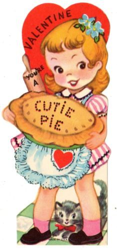 Cutie in Apron Has Wood Rolling Pin Baked Pie for You Vintage Valentine Card | eBay