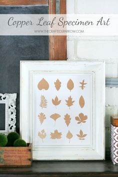 Create this simple Copper Leaf Specimen Art in just under an hour with a couple of supplies for a great addition to your Fall decor.