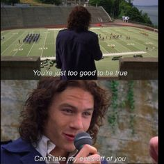 10 things I hate about you... my fav part of this movie!!! heath ledger singing to her...
