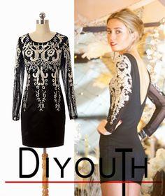 DIYouth Custom-made Women Sexy Short Little Black Dress Blackless Evening Gownes