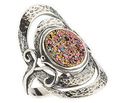 Or Paz Sterling Drusy Quartz Elongated Textured Ring