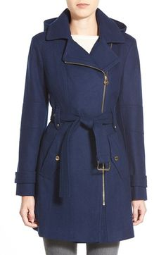 Navy it!! MICHAEL Michael Kors Belted Hooded Wool Blend Coat available in a few colors online only #Nordstrom