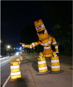 North Carolina-based uLiveandYouBurn creates havoc in the city with the creation of these wicked street monsters. He takes urban elements, such as traffic cones and trash cans, and turns them into Frankenstein-like beasts!