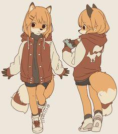"""A fox girl~"" Anime Furry, Anime Neko, Anime Art, Animal Drawings, Cute Drawings, Wolf Drawings, Furry Oc, Furry Girls, Furry Drawing"