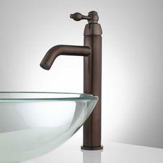 Savane Single Hole Vessel Faucet with Overflow - Oil Rubbed Bronze Glass Bowl Sink, Vessel Sink Vanity, Vessel Faucets, Sink Taps, Bathroom Sink Faucets, Bathroom Decor Pictures, Rustic Bathroom Decor, Bathroom Ideas, Bath Ideas