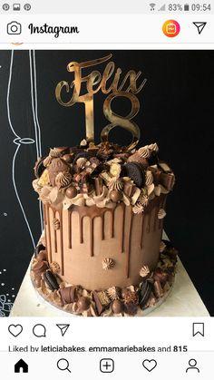 18th Birthday Cake For Guys, Elegant Birthday Cakes, Birthday Cake For Boyfriend, Beautiful Birthday Cakes, Easy Birthday Cake Recipes, Candy Birthday Cakes, Homemade Birthday Cakes, Cookie Cake Birthday, Easy Cake Decorating