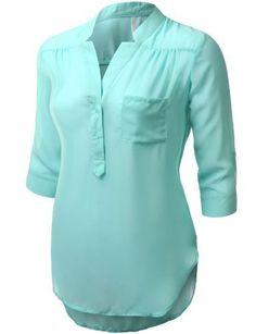 J.TOMSON PLUS Womens 3/4 Sleeve Henley Blouse Plus Size, http://www.amazon.com/dp/B00J9WBFB8/ref=cm_sw_r_pi_awdm_9IXwub0PASH56