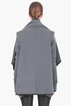 GARETH PUGH grey leather-trimmed layered Wrap Jacket
