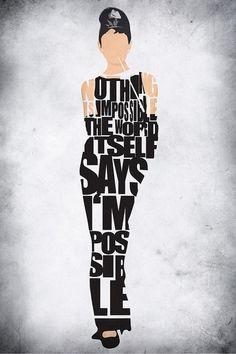 Audrey Hepburn Typography Poster Drawing