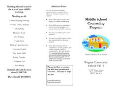 School Counseling Brochure Middle School Counseling