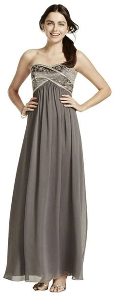 Long Chiffon Strapless Dress with Beaded Bodice Style 173130 * Read more  at the image link. (This is an affiliate link and I receive a commission for the sales)