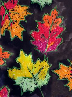 Fall Leaf Painting Project. Oil pastels and India ink make a dramatic painting.