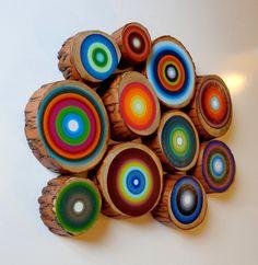 Reclaimed Wood 11 Tree Rings Painted on Handcut Wood Recycled Repurposed Woodland Modern Mid Century ON SALE. $195.00, via Etsy.
