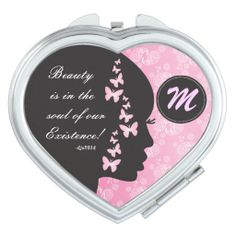 Beauty is in the Soul Monogrammed Compact Mirror.  www.zazzle.com/designsbydonnasiggy* #compact #quote #monogram #zazzle