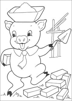 straw house coloring pages - photo#25