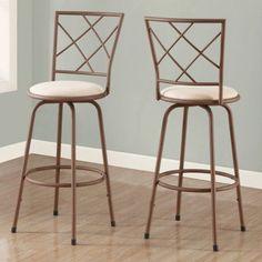 Monarch Barstool 2Pcs / Swivel / Brown / Beige Fabric Seat