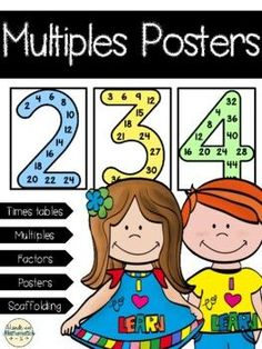 Full page number posters help students learn the multiples of 2-9. Use these posters to help students learn multiplication, identify multiples, factors, and comparing to find the least common multiple. Included in this product are posters for 2-9 as well as a single page with all eight posters that...