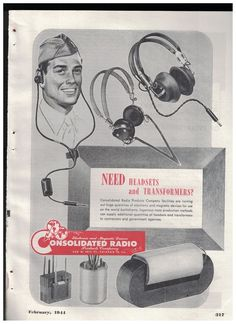 Headsets and Transformers in 1944 Consolidated Radio Products Co World War II Ad #ConsolidatedRadio