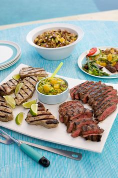 Surf and Turf with Avocado-Orange Salsa #grilled