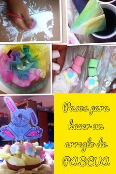 Pintando figura de madera de conejo, filtros de café pintados con colores vegetales, brochetas de malvaviscos y.... VUALA