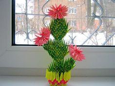 origami cactus in a pot