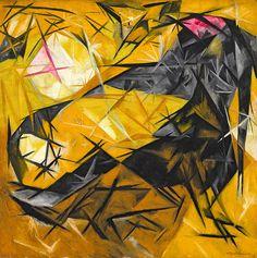 Natalia Goncharova (b. 1881, Tula, Russia; d. 1962, Paris) - Cats (rayist percep.[tion] in rose, black, and yellow) (Koshki [luchistoe vospr.{iiatie} rozovoe, chernoe i zheltoe]). 1913. Guggenheim Museum, New York