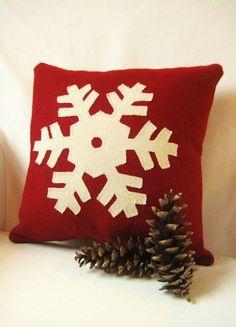Red Pillow, Ski Lodge Decor, Rustic Home Decor, Christmas Pillow, Woodland… Red Pillows, Rustic Pillows, Burlap Pillows, Wool Pillows, Decorative Pillows, Throw Pillows, Christmas Cushions, Christmas Pillow, Christmas Snowflakes