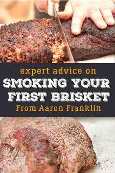 Smoker Recipes 92050 Brisket is notoriously difficult to cook. In this guide you'll learn how Aaron Franklin of BBQ with Franklin fame breaks down exactly how he cooks a brisket. Beef Brisket Recipes, Smoked Beef Brisket, Traeger Recipes, Smoked Meat Recipes, Texas Brisket, Brisket Recipe Smoker, Traeger Brisket, Best Smoked Brisket Recipe, Brisket Meat