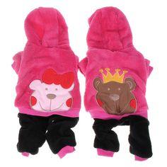 Príncipe princesa del oso de la ropa de lana para mascotas mono sudadera con capucha