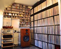 High fidelity vinyl record collection livingroom storage