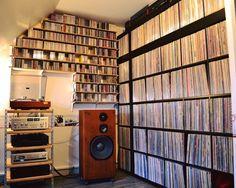 High fidelity vinyl record collection livingroom storage