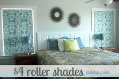 Transform a 4 Walmart roller shade into a custom window treatment Window Roller Shades, Diy Roller Blinds, Fabric Window Shades, By Any Means Necessary, Custom Window Treatments, Bedroom Window Treatments, Custom Windows, Window Coverings, Decoration