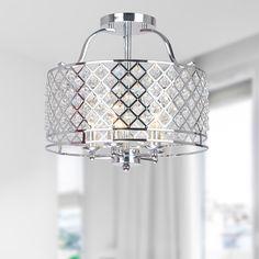 Evelyn Chrome and Crystal Ceiling Flush-mount Chandelier - Overstock™ Shopping - Big Discounts on Otis Designs Flush Mounts