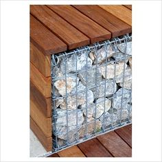 GAP Gardens - Detail of gabion and wooden bench - Image No: 0209128 - Photo by Elke Borkowski Architecture Details, Landscape Architecture, Landscape Design, Garden Design, Gabion Fence, Gabion Wall, Urban Furniture, Street Furniture, Outdoor Projects