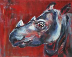 "Sumatran Rhino, original painting by Sara Cuthbert. From the ""Red Series"", endangered animals. Acrylic on canvas. Visit saracuthbert.com"