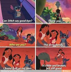 Quotes Disney Movies Funny Lilo Stitch 34 Ideas For 2019 Lilo And Stitch Quotes, Lilo Und Stitch, Lilo And Stitch Movie, Lilo And Stitch Ohana, Deviantart Disney, The Big Hero, Foto Gif, Funny Disney Memes, Sad Disney Quotes