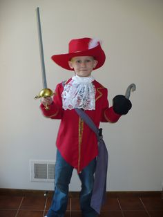 Disney Captain Hook inspired costume, size 7/8, six piece set for Halloween or Dress Up